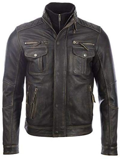 giacca vintage in pelle da moto aviatrix